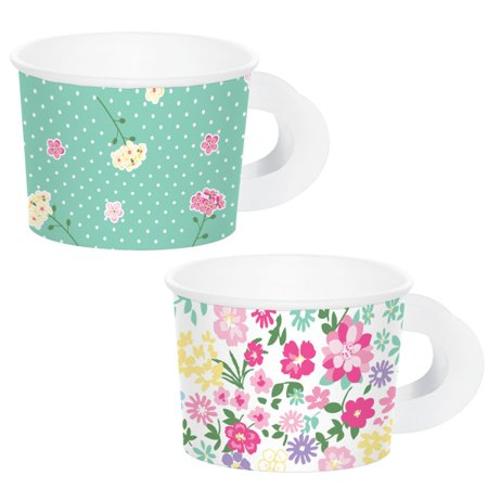 Floral Tea Party Treat Cups with Handles (6 ct)