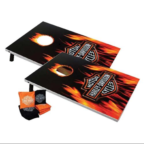 Harley-Davidson Flaming Bar & Shield Cornhole Beanbag Toss Game 66279, Harley Davidson by Dart World Inc.