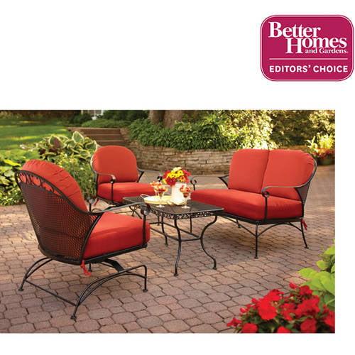 Better Homes and Gardens Clayton Court 4-Piece Patio Conversation Set, Seats 4