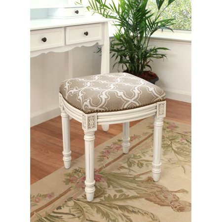 Brilliant 123 Creations Trellis Linen Upholstered Vanity Stool Creativecarmelina Interior Chair Design Creativecarmelinacom