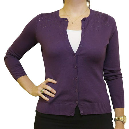 Central Park West New York Womens Cardigan Sequined Sweater (Deep Plum, Small) (Sequin Trim Sweater)