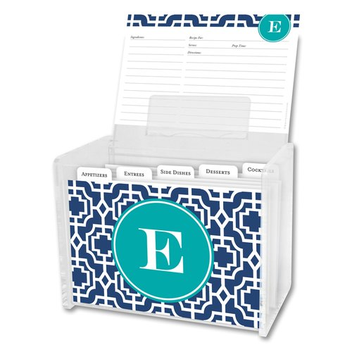 Whitney English Designer Lattice Single Initial Recipe Box