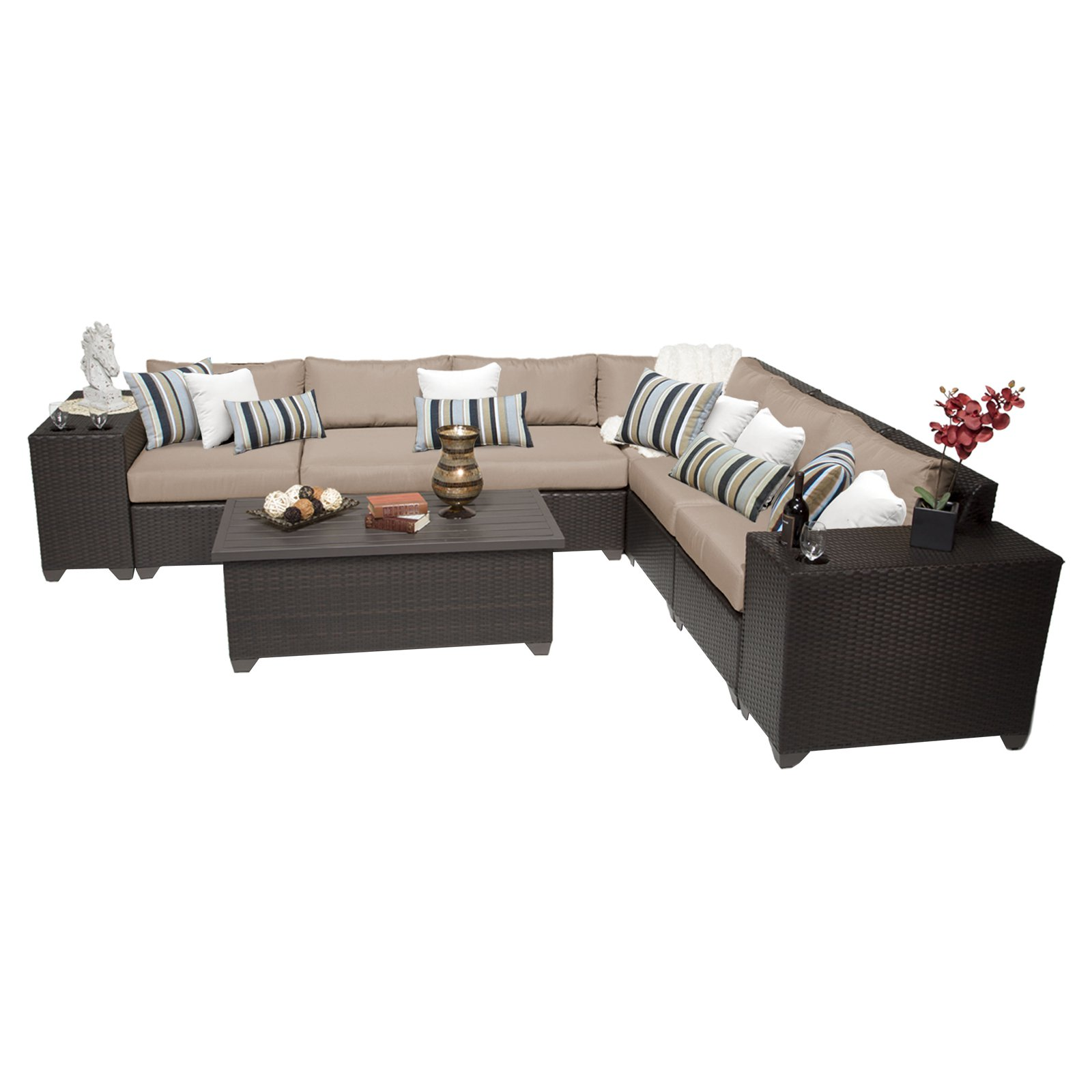 TK Classics Barbados Wicker 9 Piece Patio Conversation Set with 2 Sets of Cushion Covers