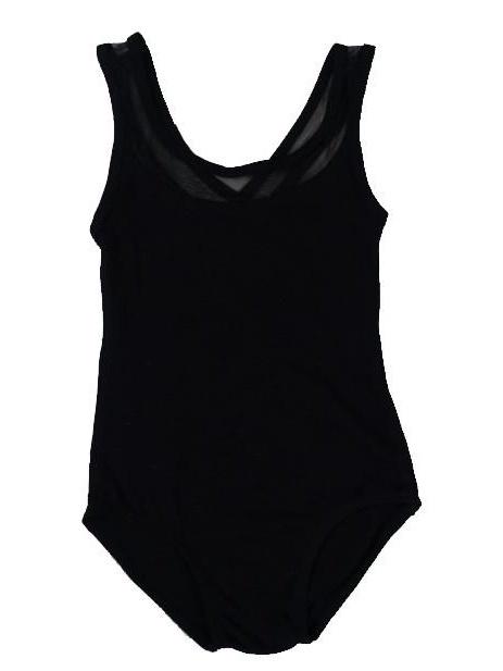 Wenchoice Black Mesh Cross-Back Leotard Girls S(1Y-2Y)