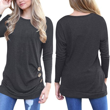 c8e3fa81872 Kojooin - Kojooin Womens Long Sleeve Casual Crew Neck Loose Tunic Tops  Blouse T-Shirt Sweater - Walmart.com