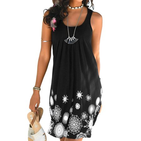 Women Summer Dresses Sleeveless Print Pleated Casual Light Sundress A-line Mini Beach