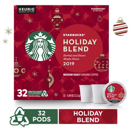 Starbucks Holiday Blend Medium Roast Coffee Single-Cup Coffee for Keurig Brewers 1 Box of 32 (32 Total K-Cup Pods) Herbal & Sweet Maple Notes