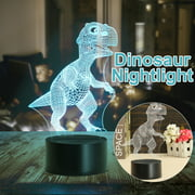 USB 7-Color Change 3D Dinosaur LED Night Light Table Desk Lamp Illusion Lamp Christmas Birthday Halloween Valentine's Day Gift