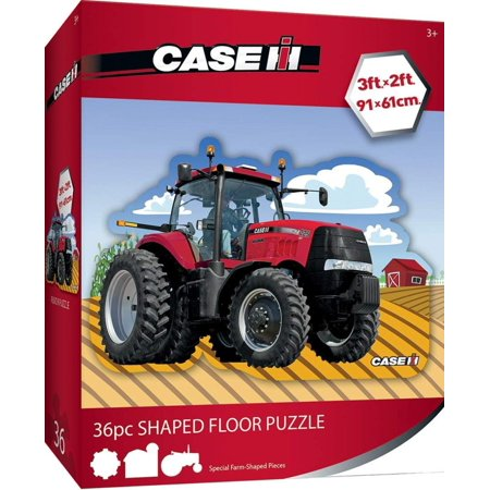 Case IH Red Tractor - 36 Piece Kids Shaped Floor Puzzle, Three shaped farm pieces hand-drawn into puzzle dieline By MasterPieces (Farm Tractor Games)