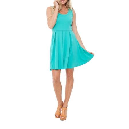 Women's Bright Fit and Flare Mini Dress (Anna Green Dress)