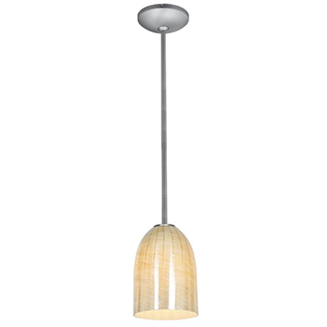 Access Lighting 28018-2R-BS-WAMB Bordeaux Rod Glass Pendant Brushed Steel & Wicker Amber by Access Lighting