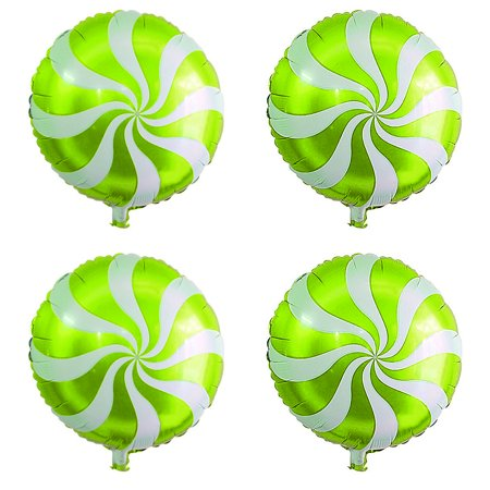 Unique Bargains Wedding Foil Wave Pattern Round Ornament Helium Balloons Green 18 Inches 4 Pcs](Helium Balloon Lights)