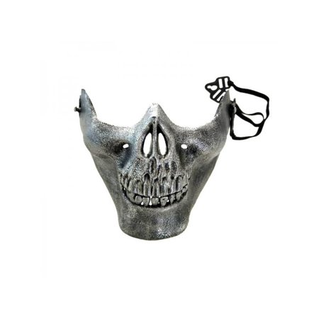 Rubber Face Masks Halloween (MarinaVida Warrior Skull Skeleton Half Face Mask Halloween Party Horror)