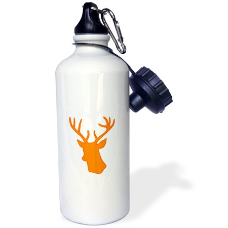 3dRose Orange Deer head silhouette on white. Modern country stag with antlers, Sports Water Bottle, 21oz ()
