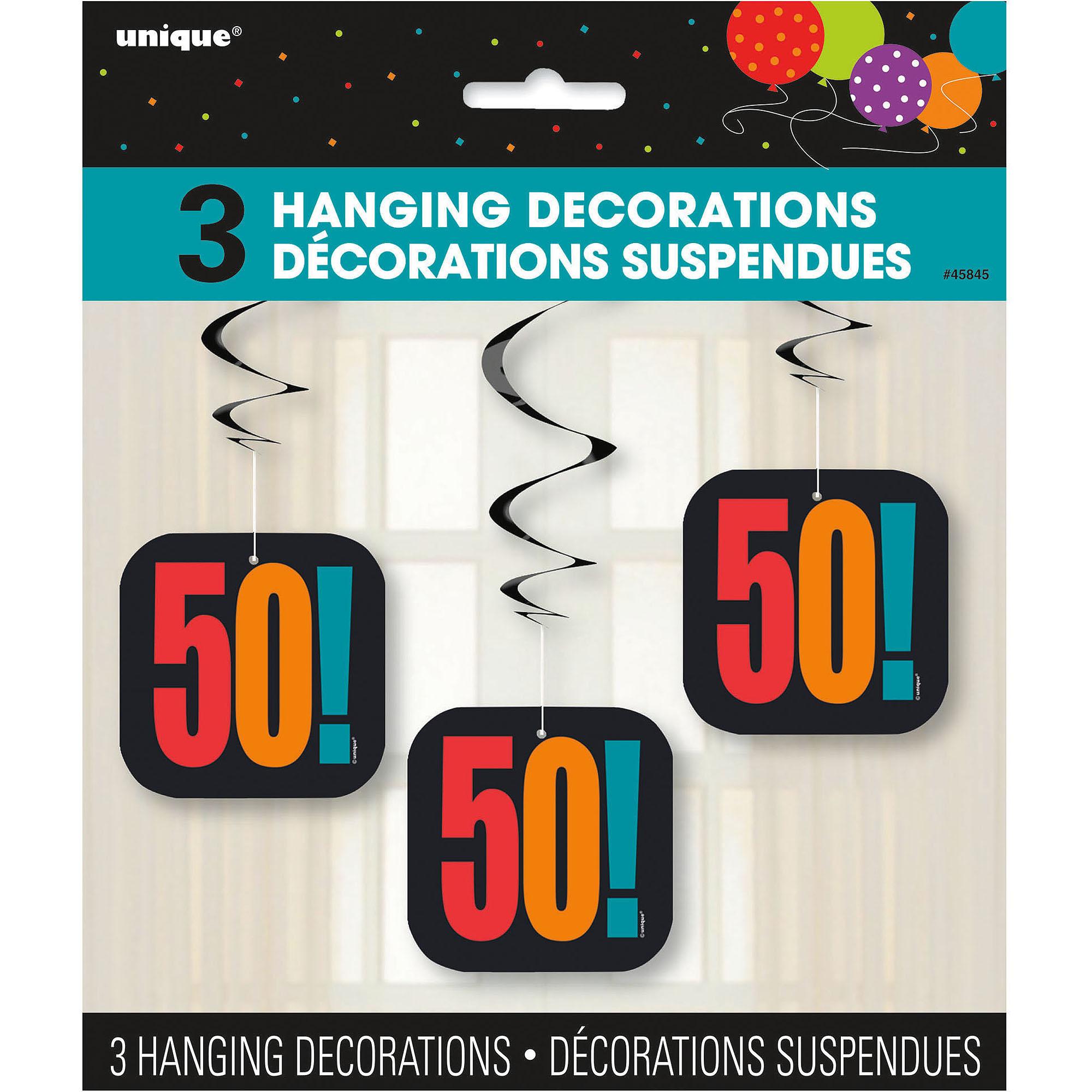 Birthday Cheer 50th Birthday Hanging Decorations, 3pk