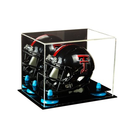 Better Display Cases Mini Football Helmet Display Case (not Full Size) Clear Acrylic Plexiglass with Mirror and Blue Risers (A003-BLR)