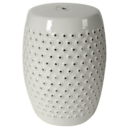A Amp B Home Finley Patterned Ceramic Garden Stool White
