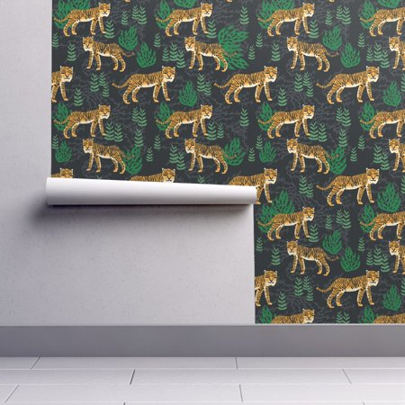 Peel-and-Stick Removable Wallpaper Tiger Animal Pattern Block Print