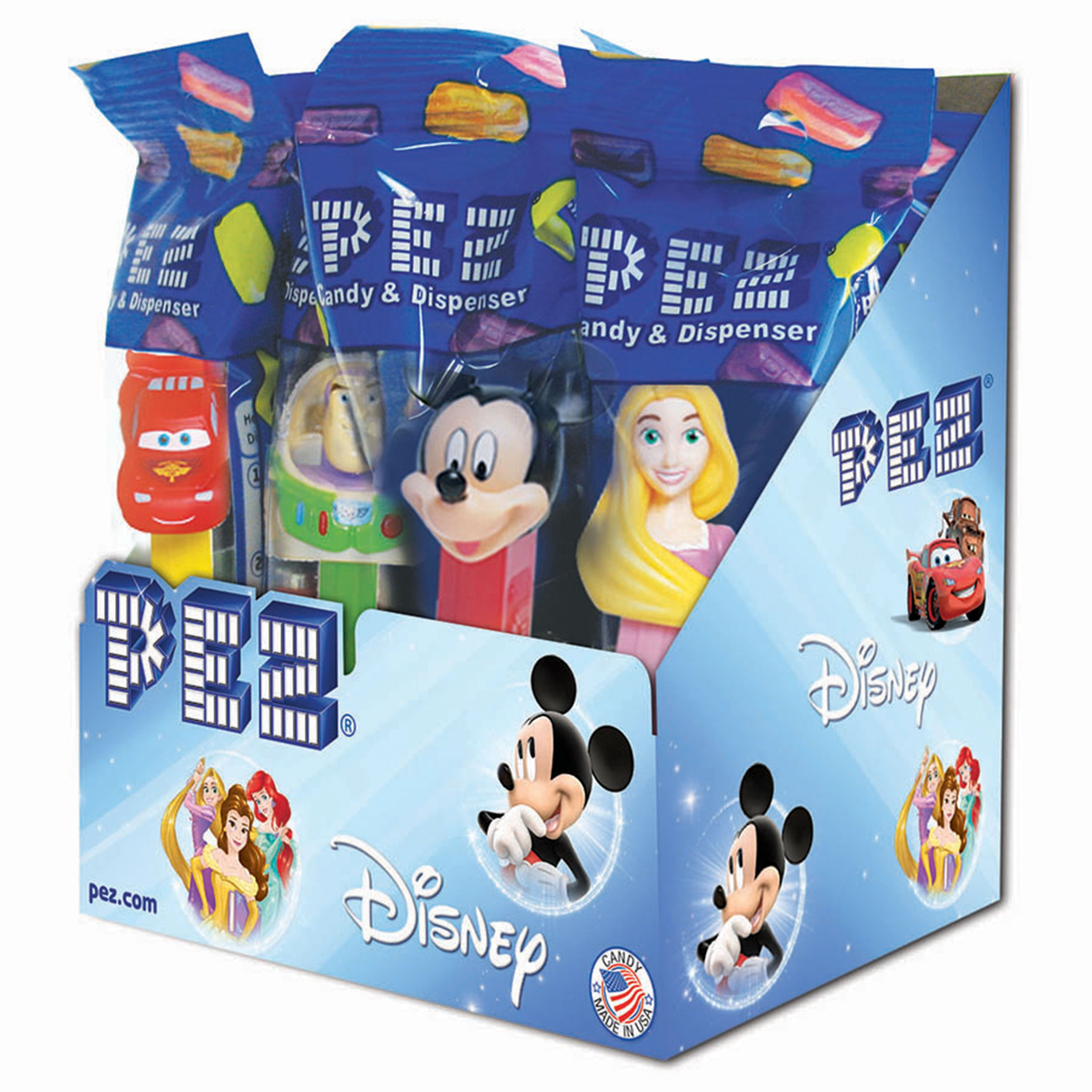 PEZ Candy Best of Disney/PIXAR Assortment, candy dispenser plus 2 rolls of assorted fruit candy, box of 12