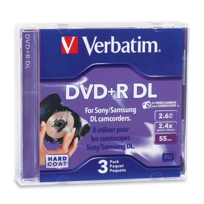 Verbatim 2.6GB 2.4X Mini Double Layer Recordable Disc DVD+R DL 3-Disc Jewel Case