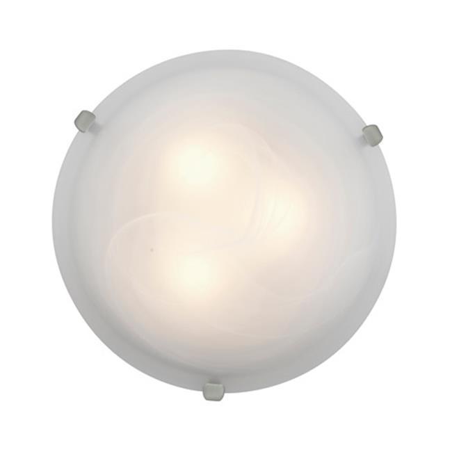 Access Lighting 23020LEDDLP-BS-ALB 16 in. Mona LED Brushed Steel Flush Mount Ceiling Light in Alabaster by Access Lighting
