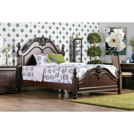 - Furniture of America Bastillina Traditional Natural Cherry Four Post Bed by FOA