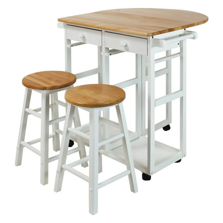 Casual Home Breakfast Kitchen Cart with Drop-Leaf Table-White