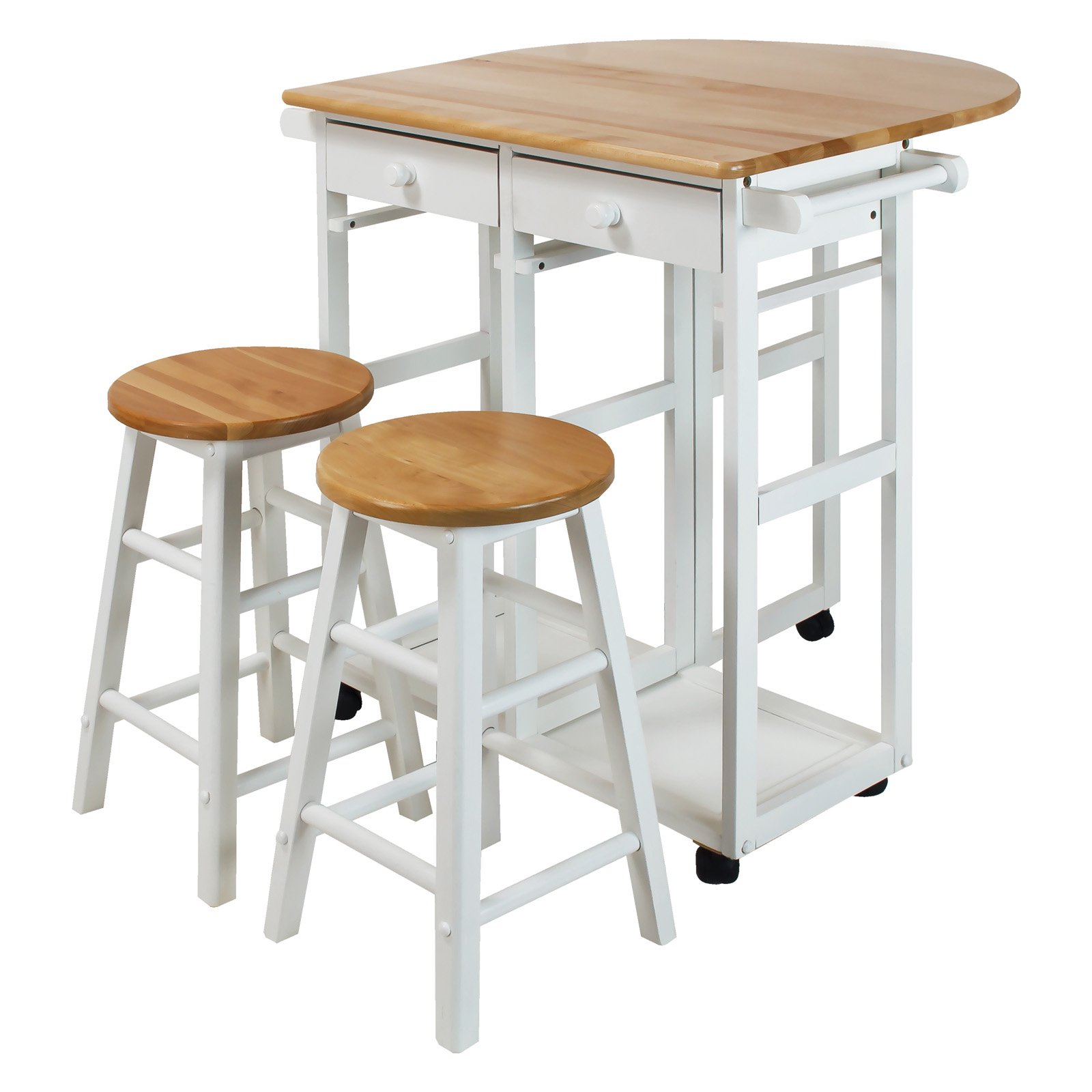 Breakfast Cart with Drop-Leaf Table-White