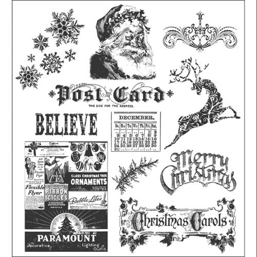 Tim Holtz Cling Rubber Stamp Set-Mini Holidays