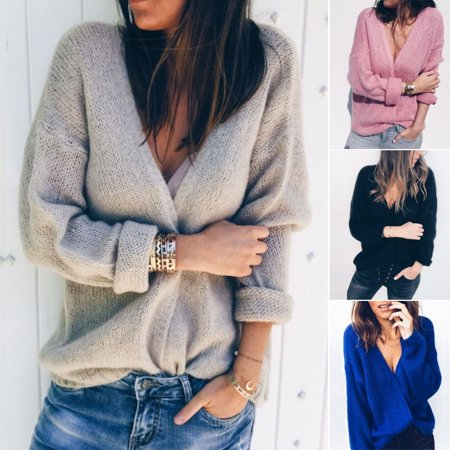 2018 Women Autumn Winter Long Sleeve Cardigan Solid Knitted Tops Ladies Casual Sweater Outwear Hot