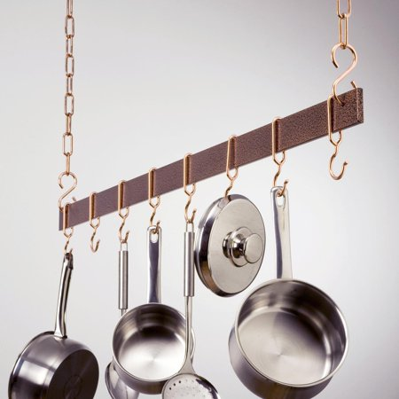 Hammered Copper Hanging Bar Pot Rack