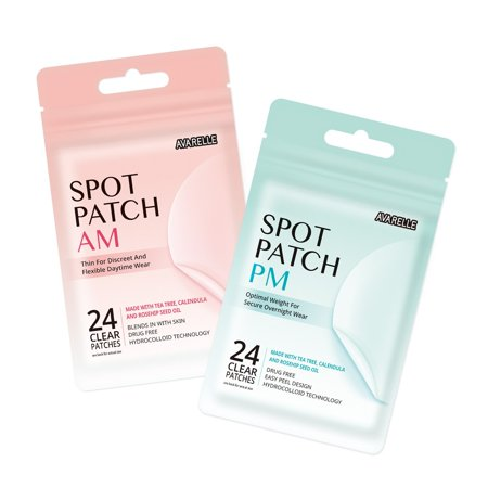 Acne Spot Patch AM+PM Daytime Absorbing Cover Patch Hydrocolloid, Tea Tree Calendula, Rosehip Seed Oil (AM+PM / 48 PATCHES) AM+PM / 48 PATCHES