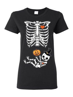 Ladies Halloween Skeleton Witch Pumpkin (not maternity) Costume Funny DT T-Shirt Tee