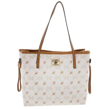 60fa843f3d55 Beverly Hills Polo Club - Beverly Hills Polo Club Womens Faux Leather  Printed Tote Handbag - Walmart.com