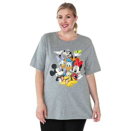 plus size mickey mouse & friends t-shirt gray minnie daisy pluto