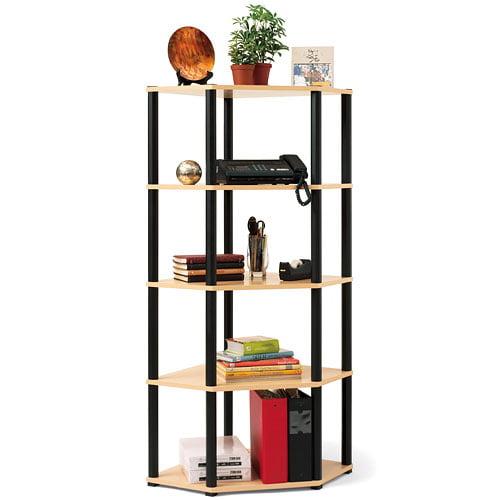 Corner 5-Shelf Open Bookcase, Beech