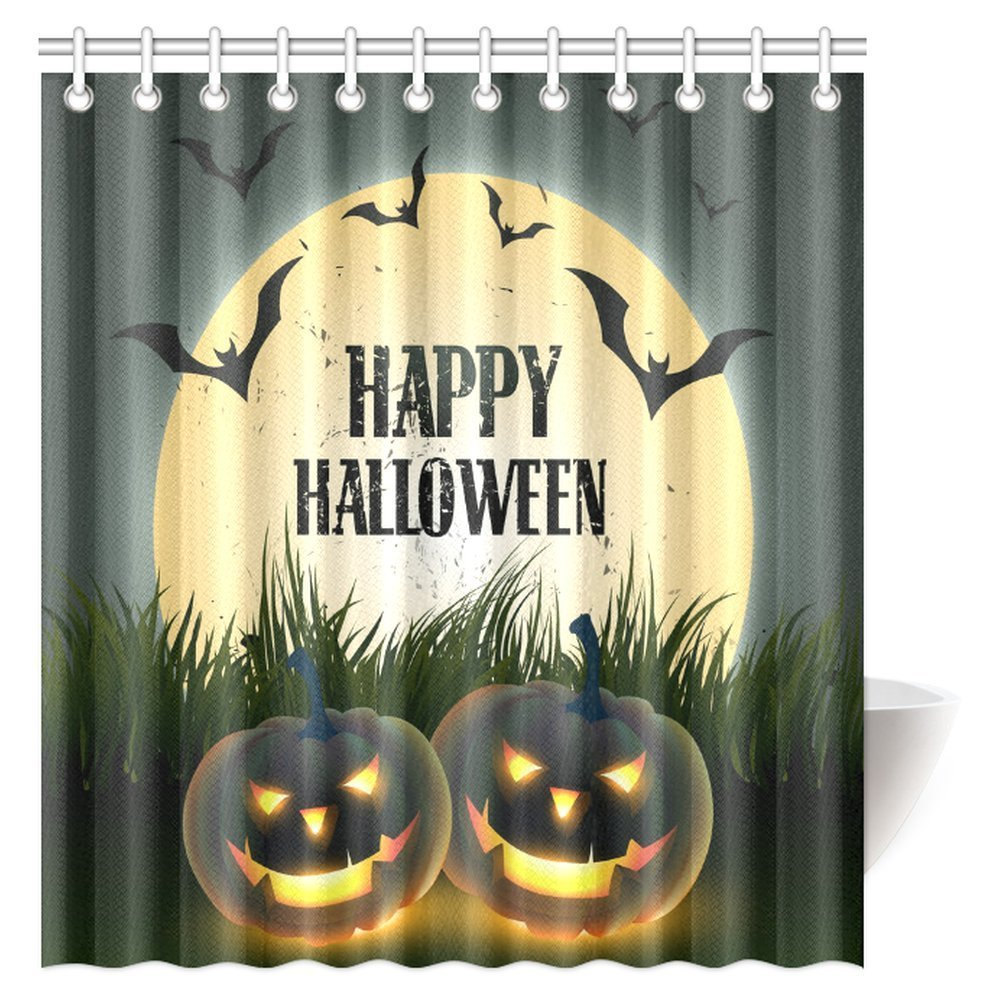 Gentil MYPOP Halloween Shower Curtain, Halloween Themed Asymmetric Caste With  Scary Bats And Ghosts Full Moon