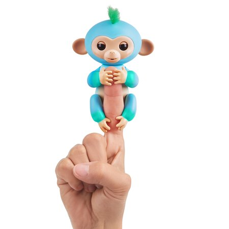 Fingerlings 2Tone Monkey - Charlie (Blue with Green accents) - Interactive Baby Pet - By WowWee