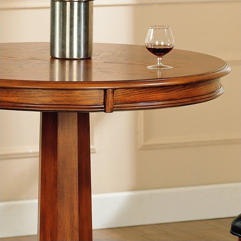 Hillsdale Park View Round Bar Height Pub Table in Medium Brown Oak - image 2 of 4
