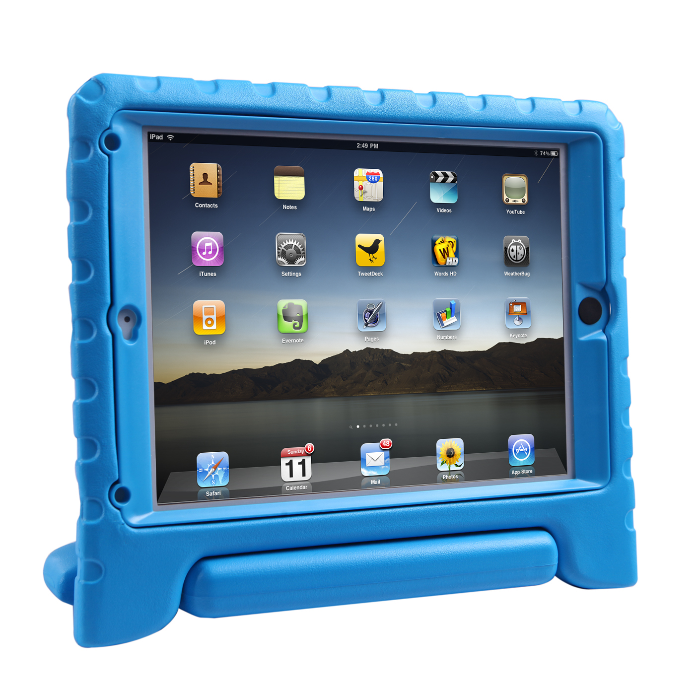 HDE iPad Air Bumper Case for Kids Shockproof Hard Cover Handle Stand with Built in Screen Protector for Apple iPad Air 1 (Blue)
