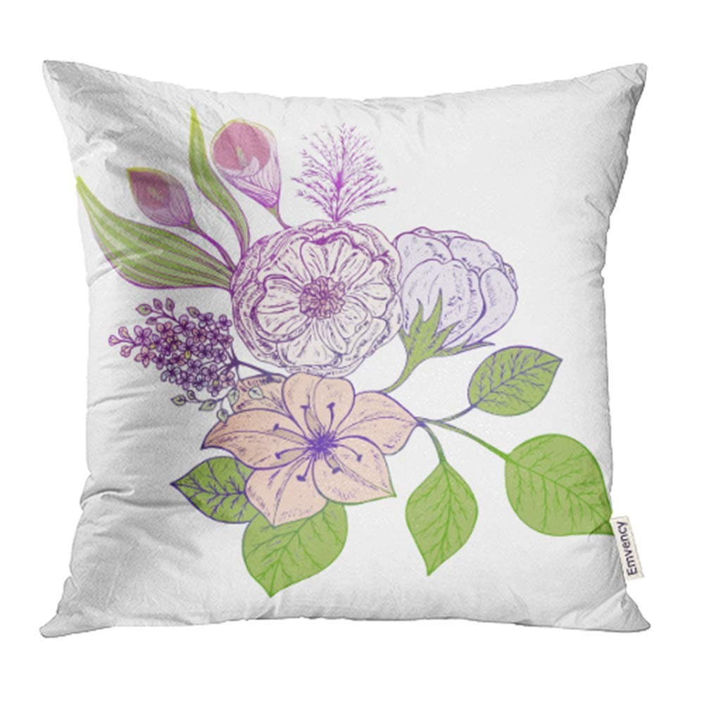 ARHOME Green Antique Bouquet of Flowers White 10 Pink Beautiful Beauty Birthday Bloom Pillowcase Cushion Cover 20x20 inch
