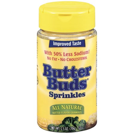 Butter Buds Sprinkles All Natural Butter Flavor Granules 2.5 oz. Shaker (Butter Flavor Salt)