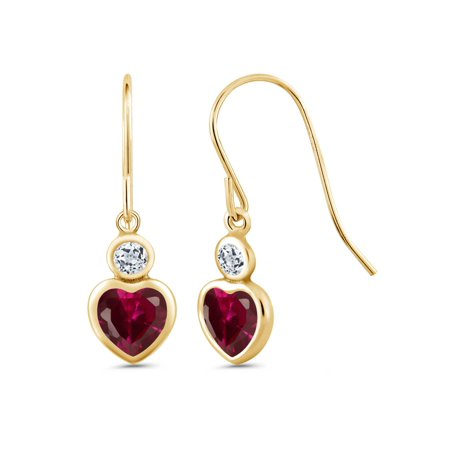 1.48 Ct Heart Shape Red Created Ruby White Topaz 14K Yellow Gold