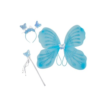 Girls Blue Glitter Butterfly Wings Wand Hairband 3 Pc Accessory - Real Butterfly Wings For Sale