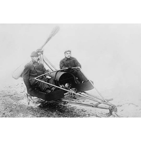 Ice Auto has two man sled with large propeller to drive thrill seekers across lake bed-Fine art canvas print (20