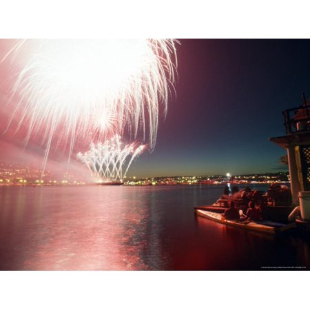 Kayakers and Houseboaters with 4th of July Fireworks over Lake Union, Seattle, Washington, USA Print Wall Art By William Sutton