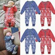 XMAS Kids Baby Boys Girls Romper Bodysuits Newborn Clothes Outfit Set