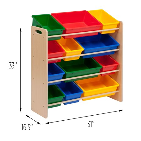 Honey Can Do Kid's Toy Organizer with 12 Storage Bins, Multicolor](Storage Organizer With Bins)