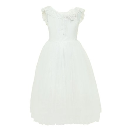 Designer Kids Girls Ivory Lace Ruffle Brianna Junior Bridesmaid