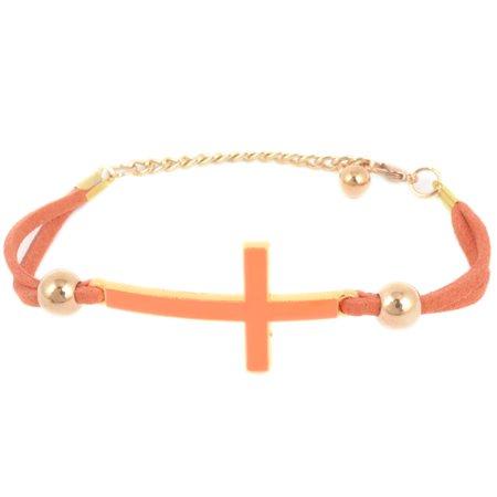 Lady Bead Cross Detail Faux Leather Wristlet Chain Bracelet Orange